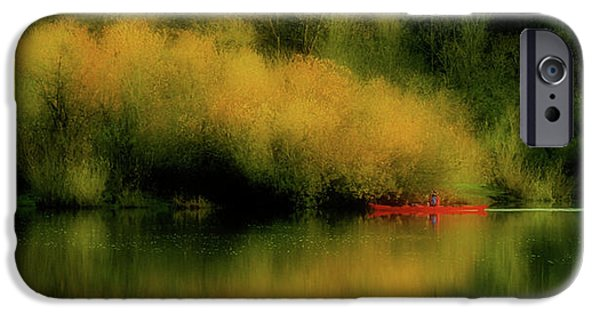 Red Canoe iPhone Cases - Carefree Afternoon iPhone Case by Bonnie Bruno