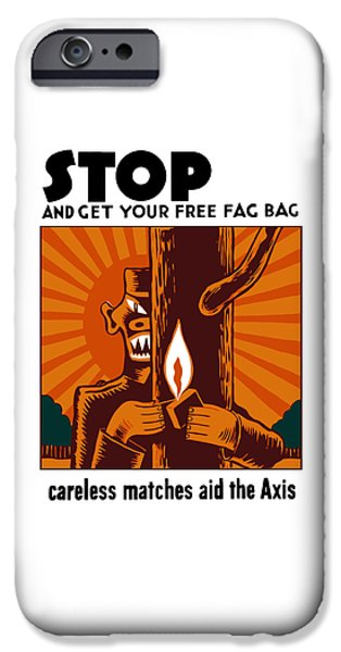 Smoking iPhone Cases - Careless Matches Aid The Axis iPhone Case by War Is Hell Store