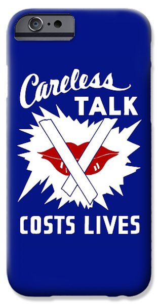 Lips Mixed Media iPhone Cases - Careless Talk Costs Lives  iPhone Case by War Is Hell Store
