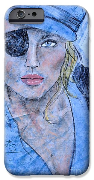 Pirate Drawing iPhone Cases - Caribbean Blue iPhone Case by P J Lewis