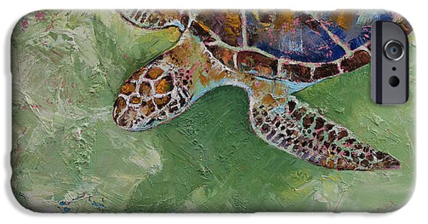 Ocean Turtle Paintings iPhone Cases - Caribbean Sea Turtle iPhone Case by Michael Creese