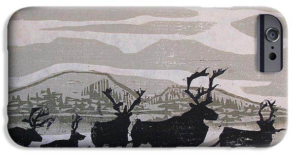 River Reliefs iPhone Cases - Caribou Yukon Territory  iPhone Case by Suzanne Giuriati-Cerny
