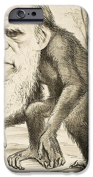 Ape iPhone Cases - Caricature of Charles Darwin iPhone Case by English School