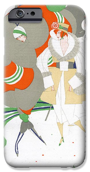 Caricature Drawings iPhone Cases - Caricature of Flappers Wearing Furs iPhone Case by Ralph Barton