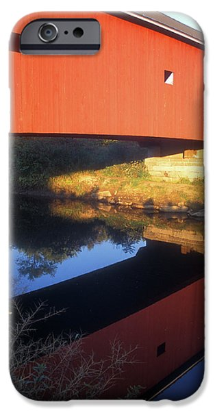 Covered Bridge iPhone Cases - Carleton Covered Bridge Reflection iPhone Case by John Burk
