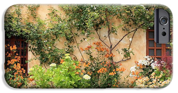Flower Gardens Photographs iPhone Cases - Carmel Mission Windows iPhone Case by Carol Groenen