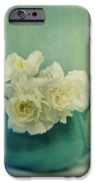 Still Life Photographs iPhone Cases - Carnations In A Jar iPhone Case by Priska Wettstein