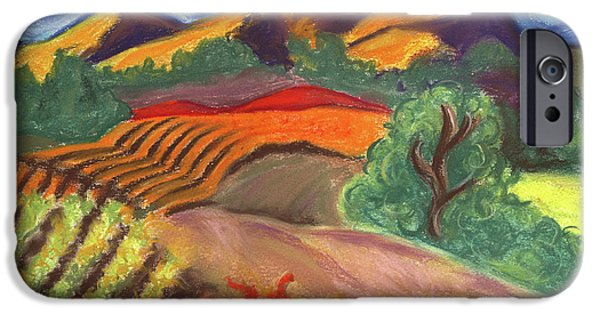 Autumn Landscape Pastels iPhone Cases - Carneros Vineyard Fall iPhone Case by Amelia Hunter