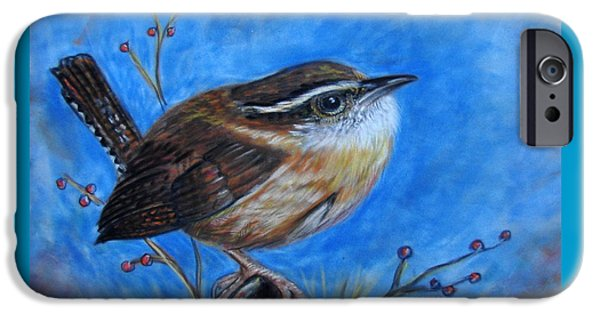 States Pastels iPhone Cases - Carolina Wren iPhone Case by Patricia L Davidson