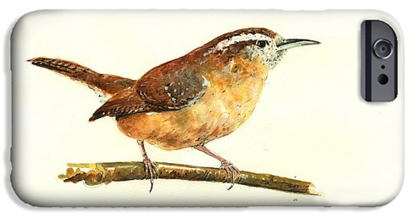 Original Watercolor iPhone Cases - Carolina Wren watercolor painting iPhone Case by Juan  Bosco