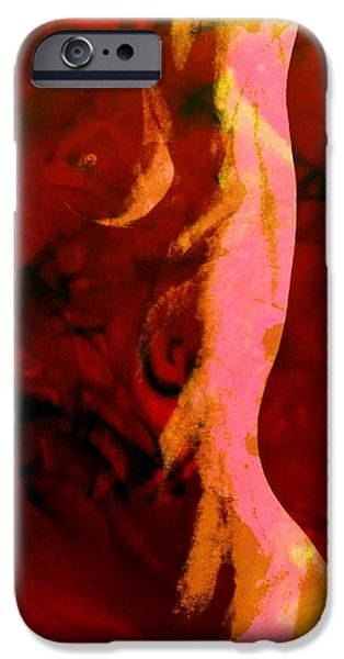 Figure iPhone Cases - Caroline Female Nude Abstract Mixed Media by Rich Ray Art iPhone Case by Rich  Ray Art