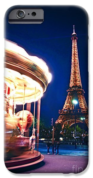 Travel Photographs iPhone Cases - Carousel and Eiffel tower iPhone Case by Elena Elisseeva