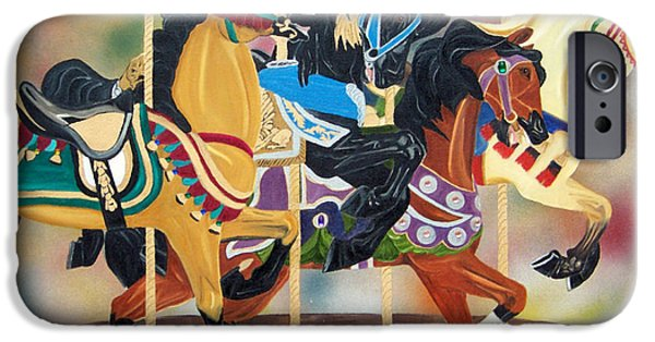 Carousel Horse Paintings iPhone Cases - Carousel Beauties iPhone Case by Debbie LaFrance