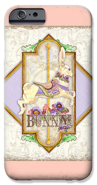Carousel iPhone Cases - Carousel Dreams - Bunny iPhone Case by Audrey Jeanne Roberts