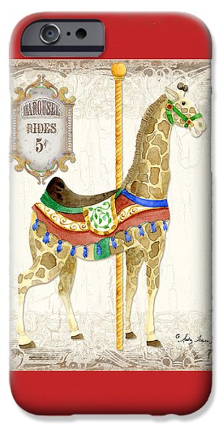 Carousel iPhone Cases - Carousel Dreams - Giraffe iPhone Case by Audrey Jeanne Roberts