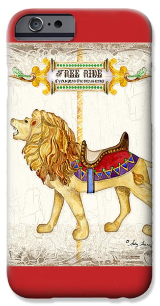 Carousel iPhone Cases - Carousel Dreams - Roaring Lion iPhone Case by Audrey Jeanne Roberts
