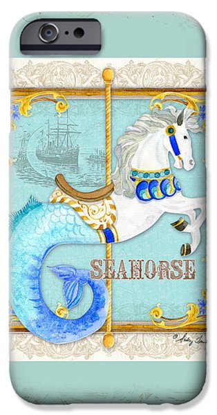 Carousel iPhone Cases - Carousel Dreams - Seahorse iPhone Case by Audrey Jeanne Roberts