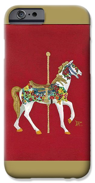 Carousel Horse Paintings iPhone Cases - Carousel Horse #2 iPhone Case by Donald Paczynski
