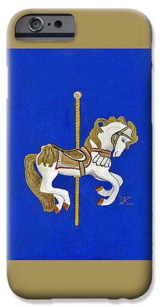 Carousel Horse Paintings iPhone Cases - Carousel Horse #3 iPhone Case by Donald Paczynski
