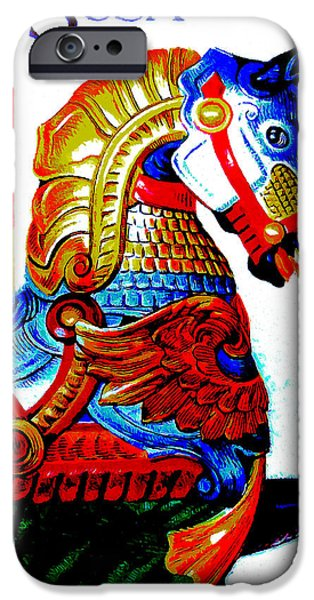 Carousel Horse Paintings iPhone Cases - Carousel Horses iPhone Case by Lanjee Chee