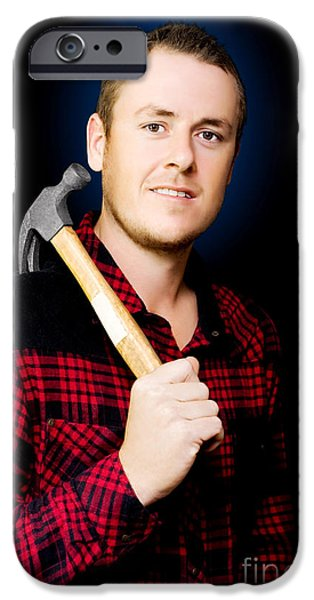 Diy iPhone Cases - Carpenter with a hammer iPhone Case by Ryan Jorgensen