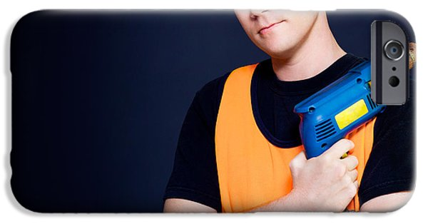 Electrical iPhone Cases - Carpenter with power drill iPhone Case by Ryan Jorgensen