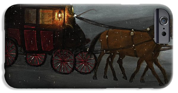 Snowy Night iPhone Cases - Carriage Ride iPhone Case by Ken Figurski