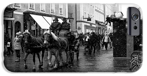 Horse And Buggy iPhone Cases - Carriage Ride Through Salzburg iPhone Case by John Rizzuto