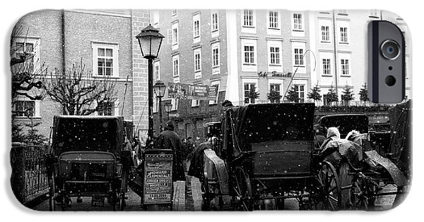 Horse And Buggy iPhone Cases - Carriages in Salzburg iPhone Case by John Rizzuto