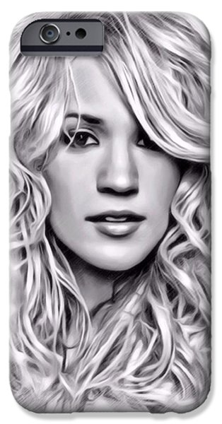 Digital Designs iPhone Cases - Carrie Underwood Sketch iPhone Case by Scott Wallace