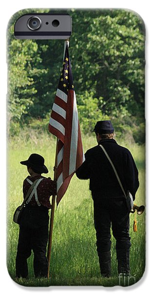 Civil War Re-enactment iPhone Cases - Carrier of the Flag iPhone Case by Kim Henderson