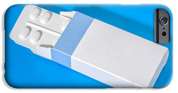 Flu iPhone Cases - Carton box with pills in a strip iPhone Case by Patricia Hofmeester