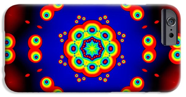 Colorful Abstract iPhone Cases - Cartoon Eyes Fractal Mandala iPhone Case by Marv Vandehey