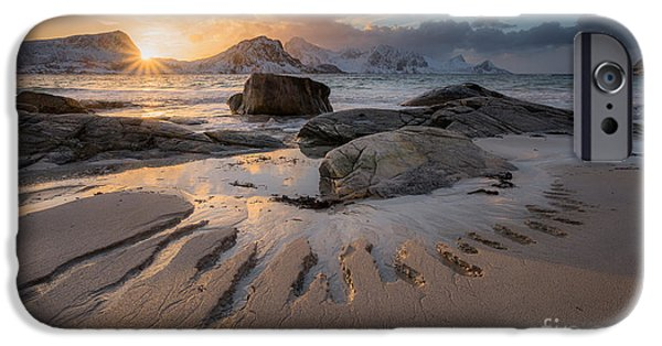 Norway iPhone Cases - Carved by the sea iPhone Case by Lorenzo Riva