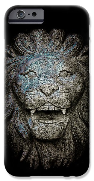 Sign iPhone Cases - Carved Stone Lions Head iPhone Case by Loriental Photography