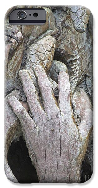 Old Reliefs iPhone Cases - Carving of Desperate Hand iPhone Case by John Malone