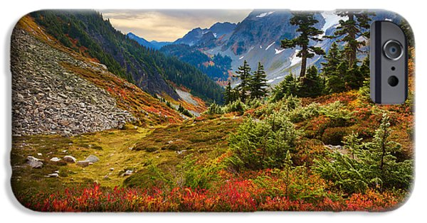 Picturesque iPhone Cases - Cascade Pass Fall iPhone Case by Inge Johnsson