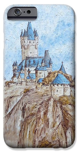 Sand Castles iPhone Cases - Castle on the River Rhine iPhone Case by Birgit Moldenhauer