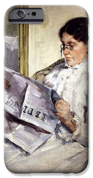 Cora Wandel iPhone Cases - Cassatts Reading Le Figaro iPhone Case by Cora Wandel