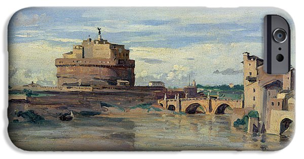 1796 iPhone Cases - Castel Sant Angelo and the River Tiber iPhone Case by Jean Baptiste Camille Corot