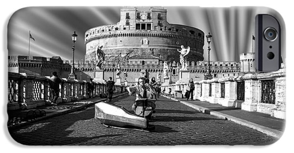 Built Structure iPhone Cases - Castel Sant Angelo with Celo in Rome - Italy iPhone Case by Stefano Senise