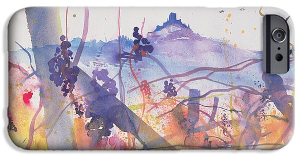 Italian Landscapes Paintings iPhone Cases - Castiglione dOrcia from Bagno Vignoni iPhone Case by Simon Fletcher