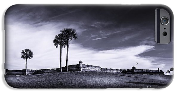 Augustine iPhone Cases - Castillo de San Marcos-b/w iPhone Case by Marvin Spates