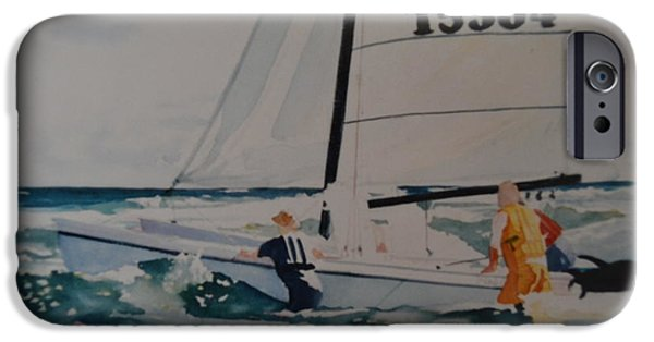 Sailboat Ocean iPhone Cases - Casting Off iPhone Case by Margaret Huntley Harrison