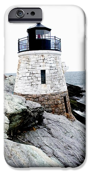 New England Lighthouse iPhone Cases - Castle Hill Light iPhone Case by Greg Fortier