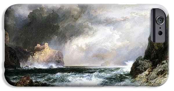 Storm iPhone Cases - Castle in Scotland iPhone Case by Thomas Moran