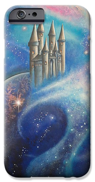 Outer Space Paintings iPhone Cases - Castle In The Stars iPhone Case by Krystyna Spink