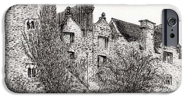 Ruin Drawings iPhone Cases - Castle ruins at Hay on Wye iPhone Case by Vincent Alexander Booth