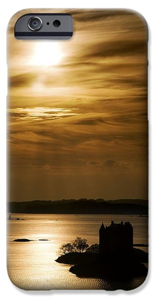 Peaceful Scenery iPhone Cases - Castle Stalker At Sunset, Loch Laich iPhone Case by John Short