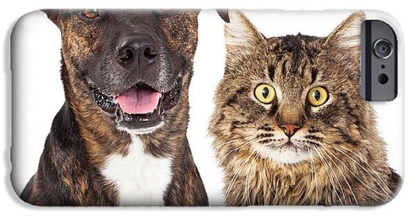 Cutout iPhone Cases - Cat and Dog Closeup iPhone Case by Susan  Schmitz
